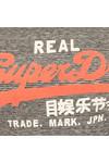 Superdry Womens Black Charcoal Vintage Logo LG Stripe Entry Tee