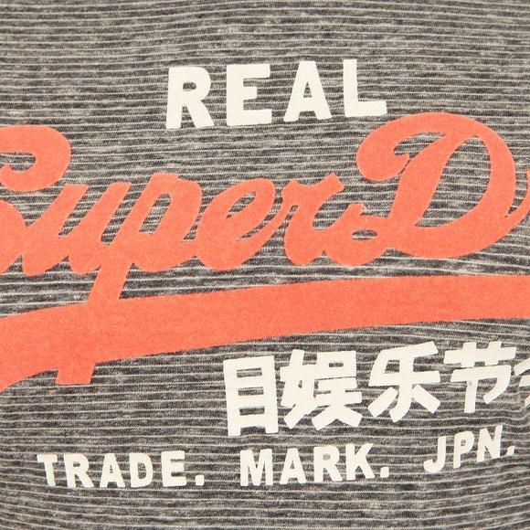 Superdry Womens Black Charcoal Vintage Logo LG Stripe Entry Tee main image