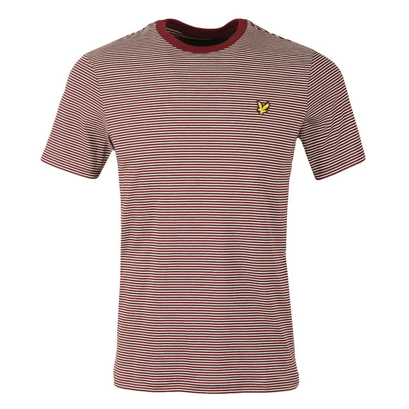Lyle and Scott Mens Red Feeder Stripe T-Shirt main image