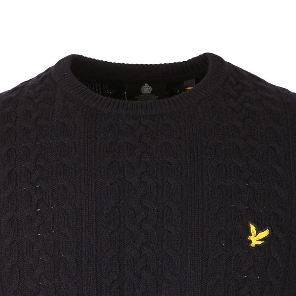 Lyle and Scott Mens Blue Cable Jumper main image