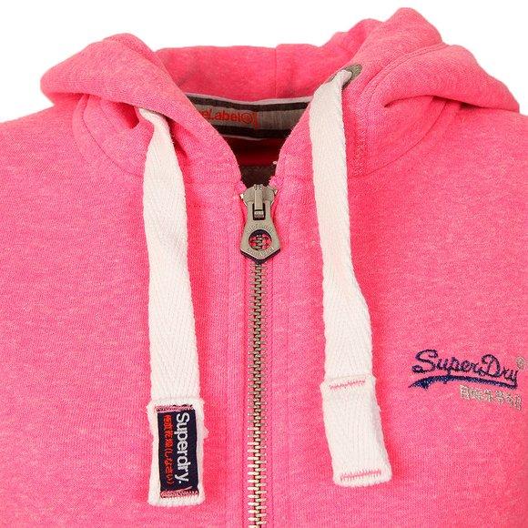 Superdry Womens Blizzard Pink Snowy Orange Label Primary Zip Hoody main image