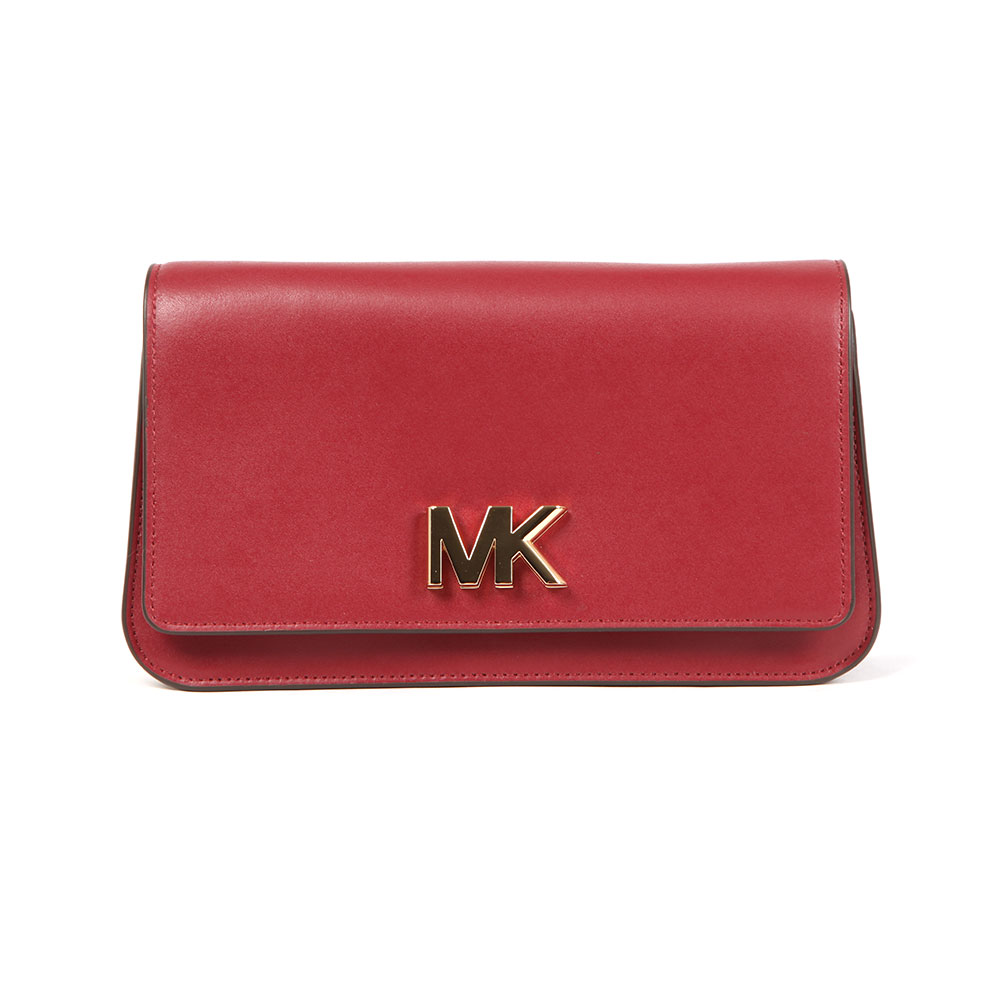 Michael Kors Mott Large Clutch Bag in 'mulberry' has been crafted from a smooth red leather that features a gold MK closure that twists to open. Two compartments feature to the interior and a slip pocket is displayed to the reverse. A detachable gold chain shoulder strap can be added to create an alternative look. Approx: H: 13cm x W: 23cm x D: 5.5cm