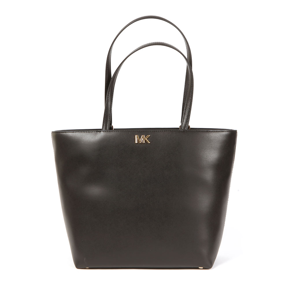 Michael Kors Mott Mid Tote Bag In 'black' Features Gold Metal MK Hardware To The Front And Twin Shoulder Straps. The Large Black Bag Is Large Enough For Every Day Use And Features Interior Slip Pockets. Approx: H: 28cm X W: 41cm X D: 14cm