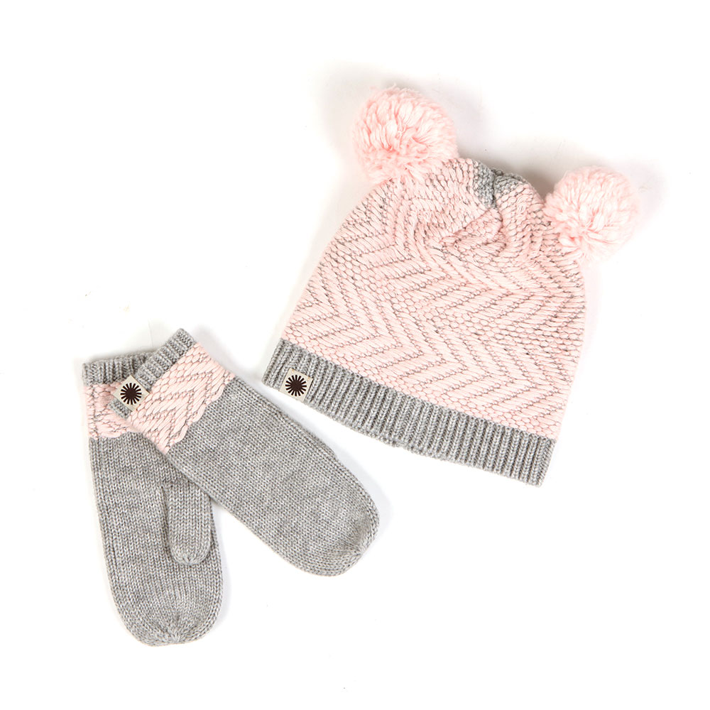 UGG Chevron Pom Hat & Mitten Set in 'grey/pink' is a matching set for kid's and features a textured beanie hat, complete with twin bobbles to the top. Matching mittens included.