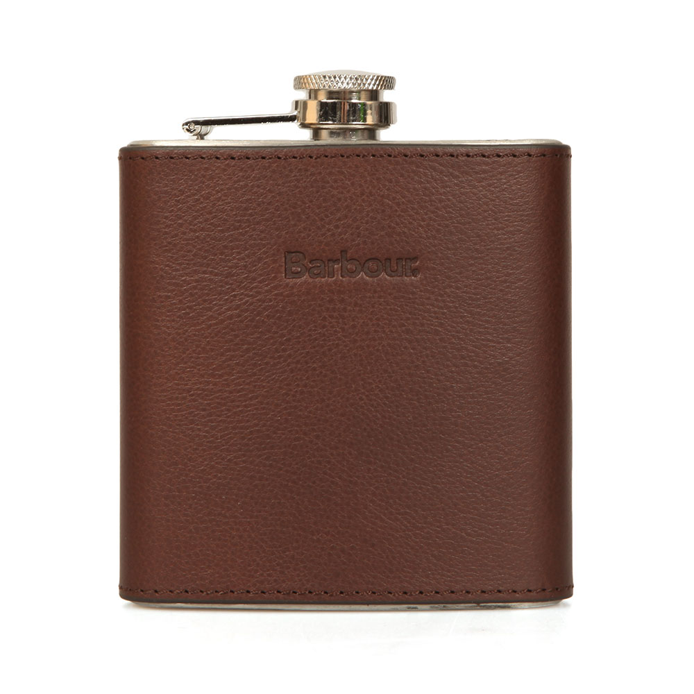 Barbour Lifestyle Hip Flask Gift Box, in Brown.