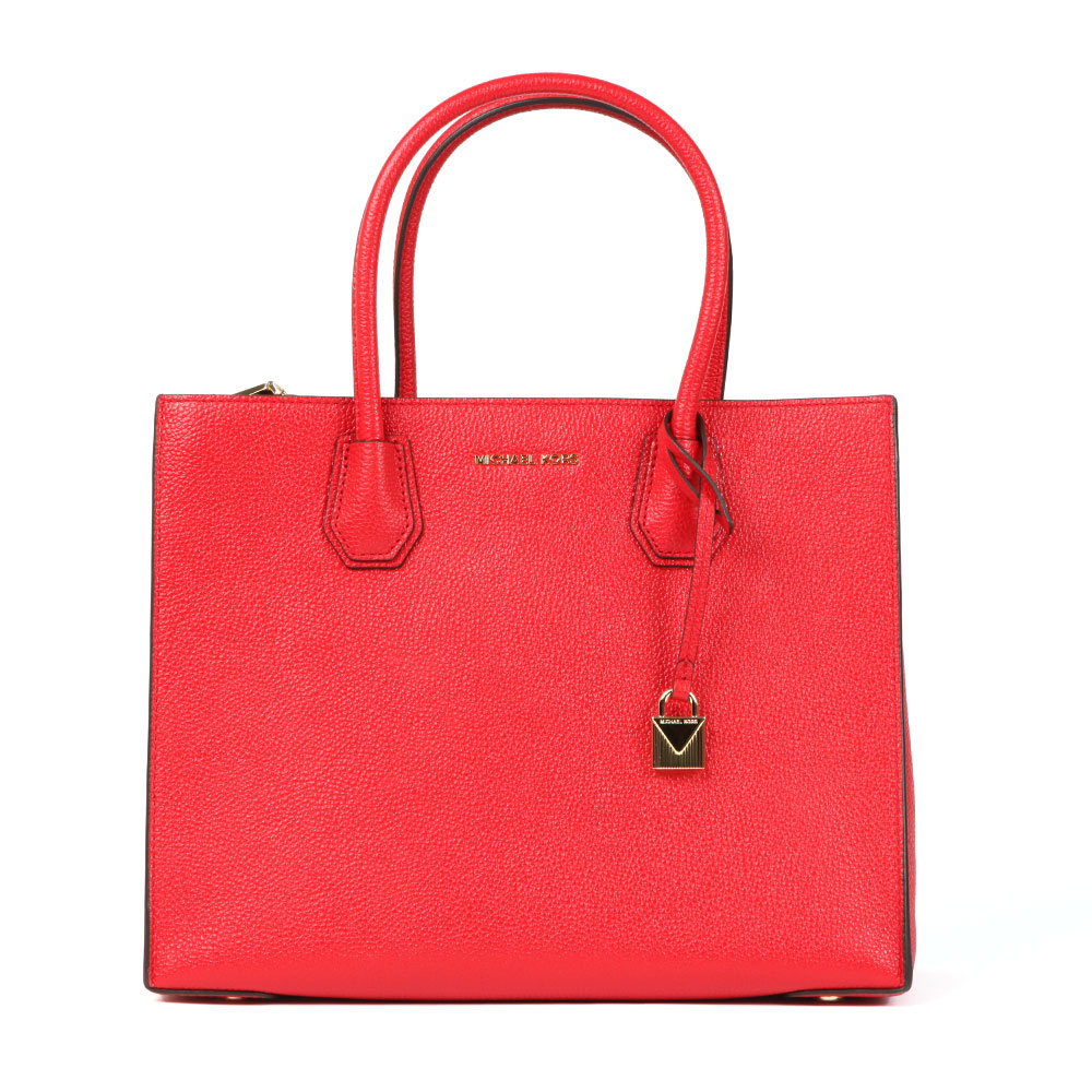Michael Kors Mercer Large Tote Bag In 'bright Red' Is A Large Textured Leather Bag That Has Been Designed With Metallic Gold Hardware, Including A Branded Padlock Charm And Raised Metal Lettering To The Front. A Zipped Pocket To The Interior Provides Concealed Storage. A Long, Detachable Shoulder Strap Can Be Used To Create A More Casual Look. Approx: H: 24.5cm X W: 31cm X D: 13.5cm