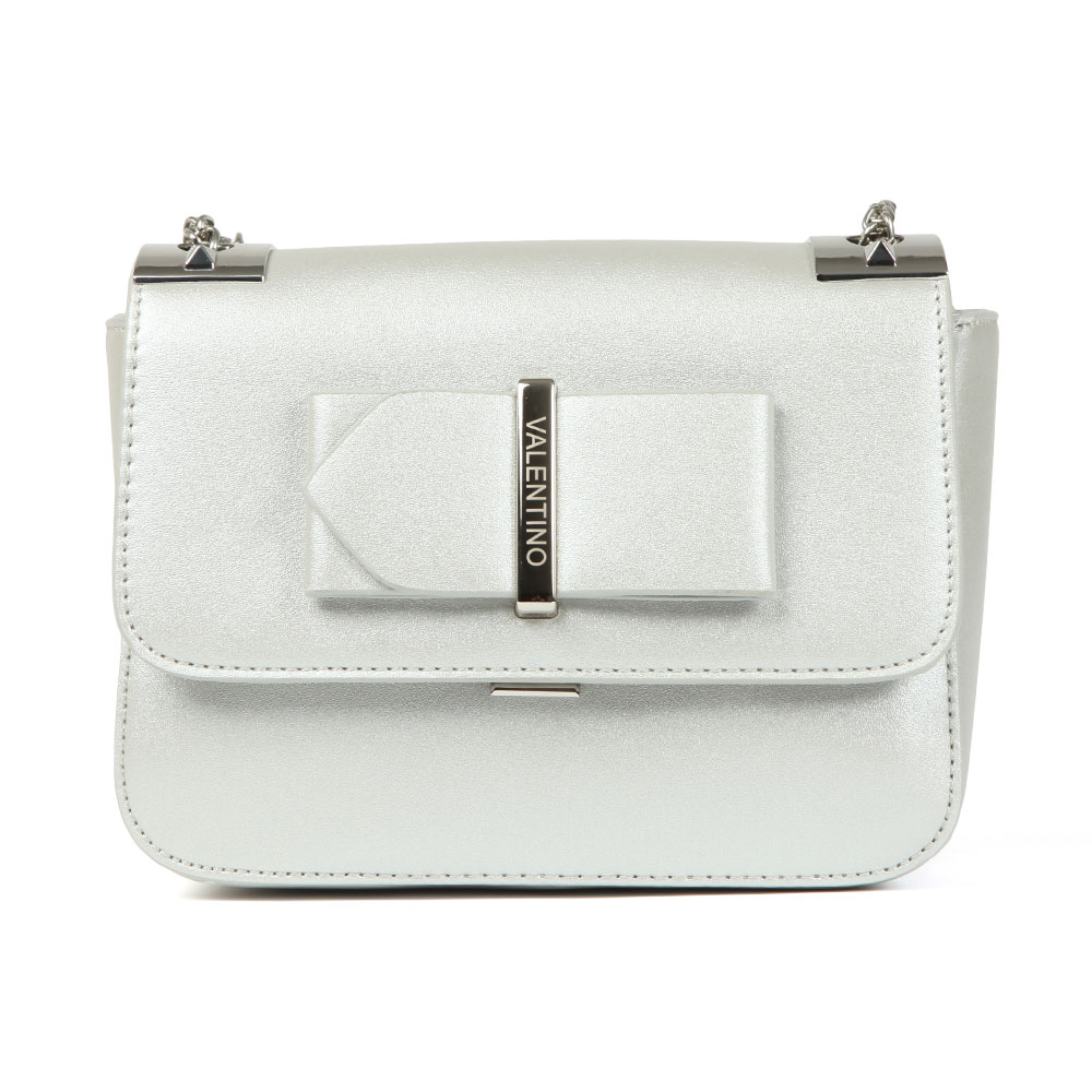 Valentino by Mario Randa Satchel in 'silver' provides a festive feel and features a silver chain shoulder strap and hardware to match. A 3D bow features to the front and a clasp & zip closure keep essentials stored safetly. Approx: H: 14cm x W: 19cm x D: 7cm