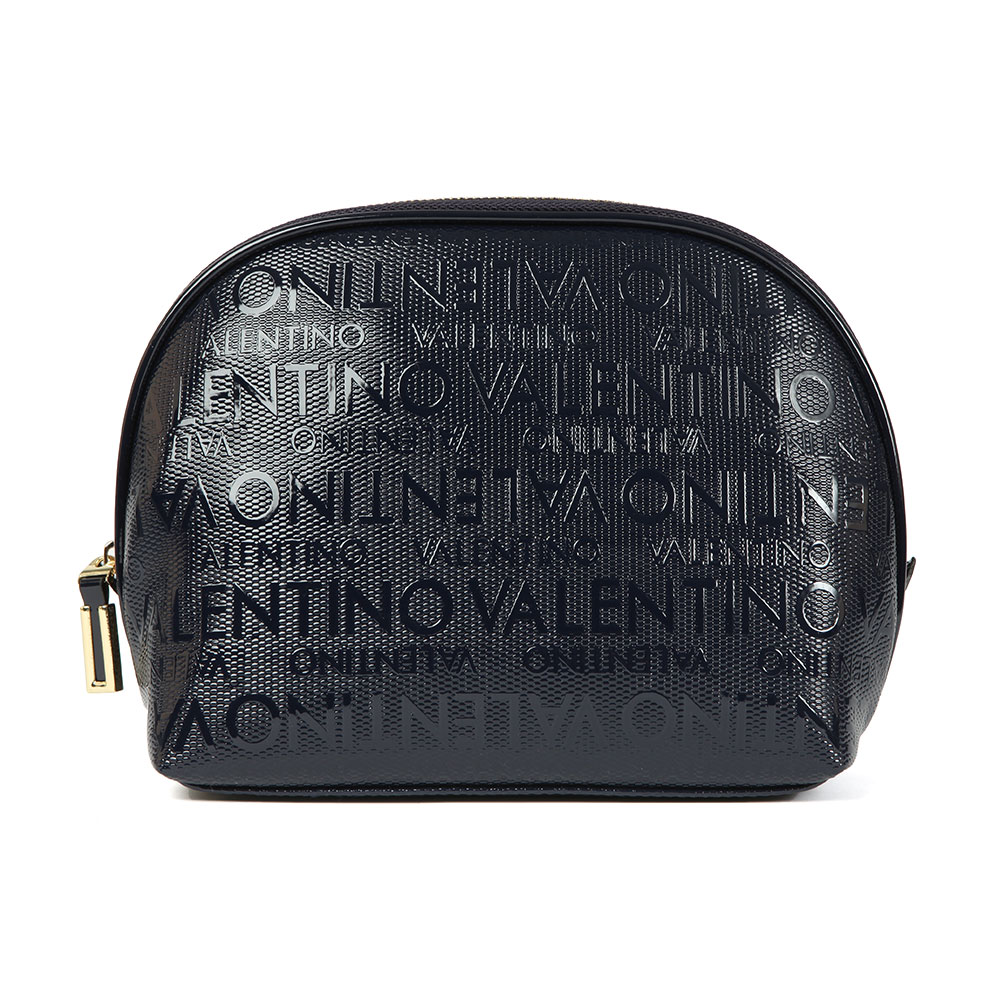 Valentino By Mario Clove Soft Cosmetic Case In 'navy' Features An All-over Valentino Print And Patent Finish. Approx: H: 20cm X W: 26cm X D: 9cm