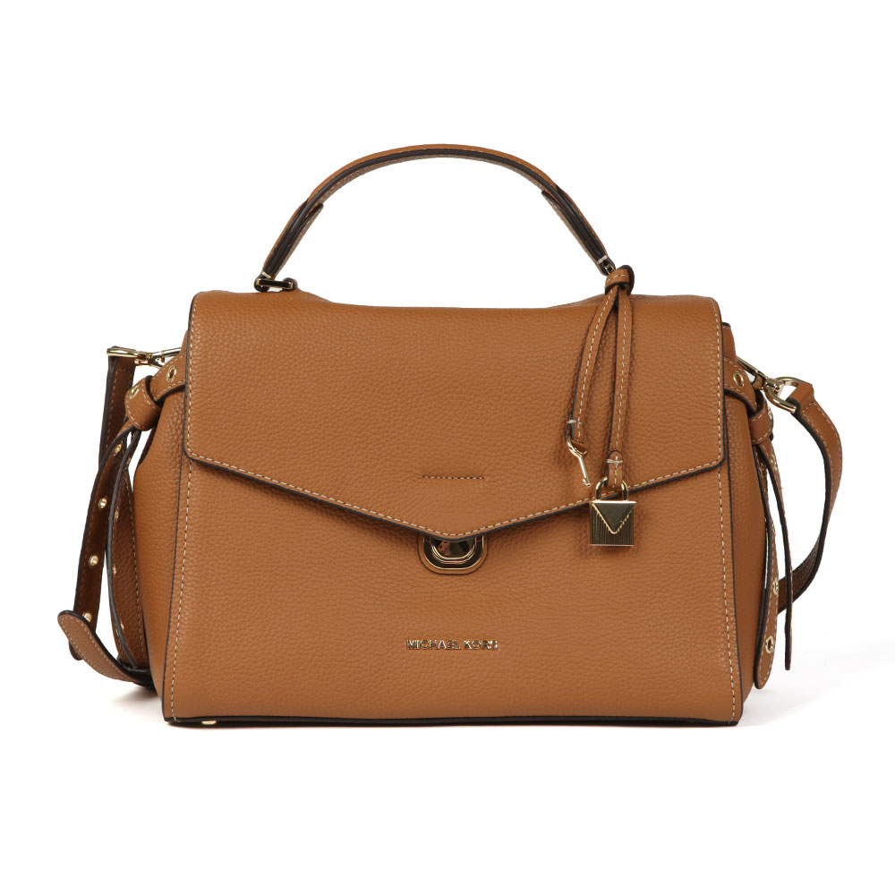 Michael Kors Bristol Mid Satchel in 'acorn' has been crafted in a tan coloured textured leather in a fold-over silhouette. Knotted leather to the sides and padlock & key hardware add stylish detail and gold Michael Kors hardware is displayed to the front. The option of a long, detachable shoulder strap and short top handle make the Bristol versatile. Approx: H: 21cm x W: 32cm x D: 12.5cm