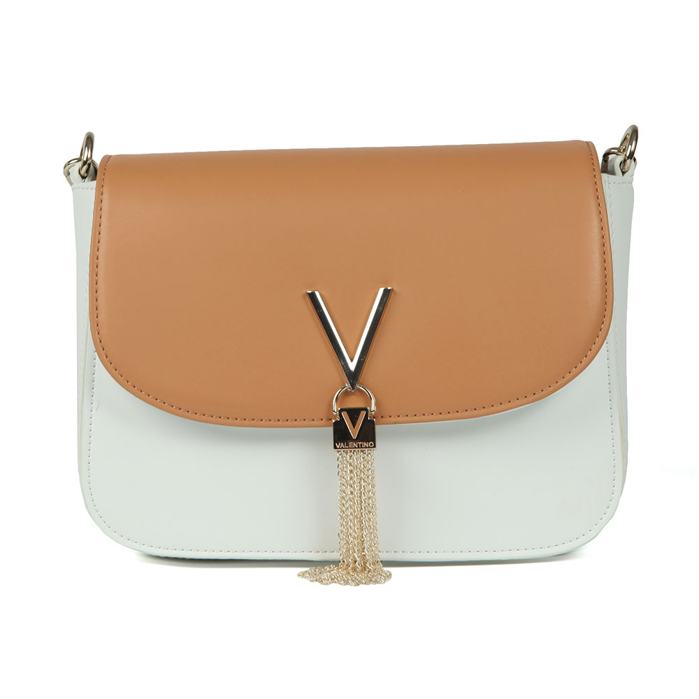 Valentino by Mario Divina Bl Satchel in 'beige' has been crafted with an open-flap front and V tassle detail. The contrasting coloured bag has a small shoulder strap, perfect for evening-wear. Approx: H: 15cm x W: 22.5cm x D: 8.5cm