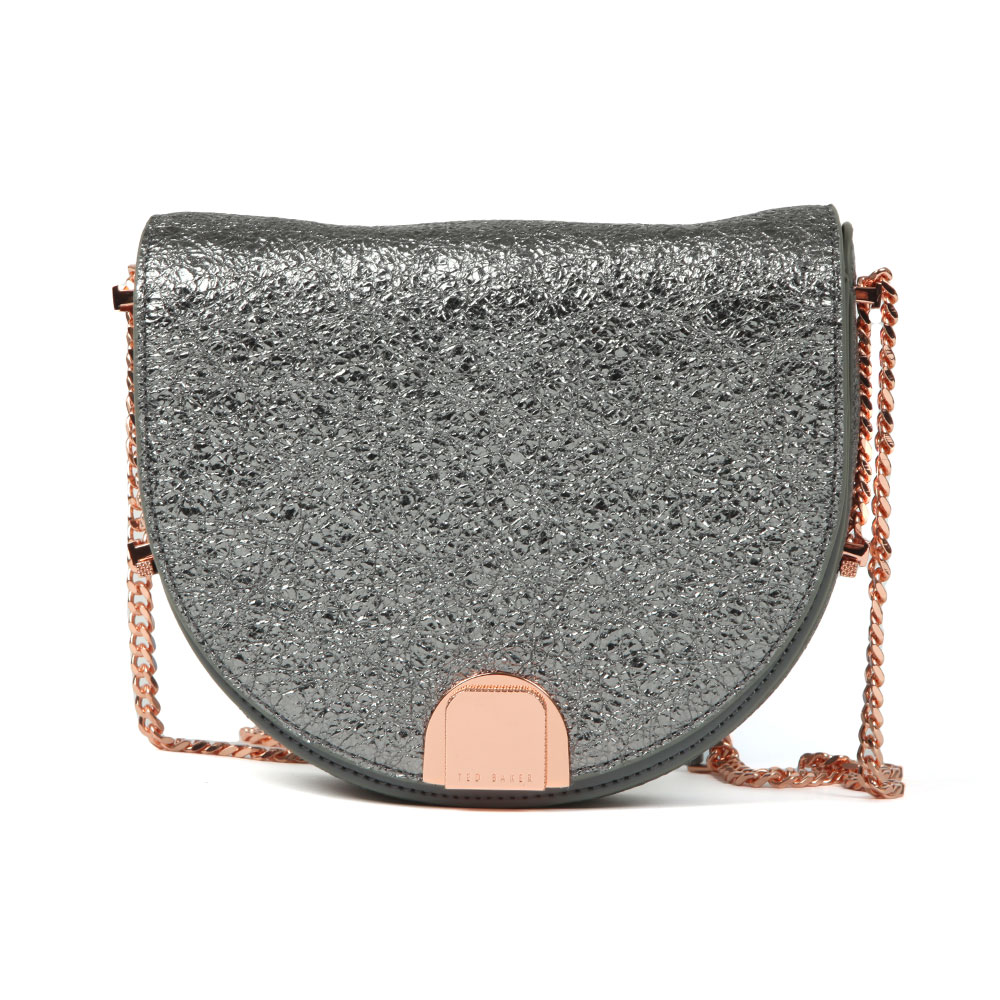 Ted Baker Roxaane Flip Case Moon Bag In 'gunmetal' Will Turn Your Outfit Extra With Its Metallic Grey Foil Finish To The Front And Striking Rose Gold Hardware. A Branded Clasp Fastener Is Featured To The Front And A Rose Gold Chain Shoulder Strap Adds Contrasting Detail. Approx: H: 17cm X W: 21cm X D: 7cm