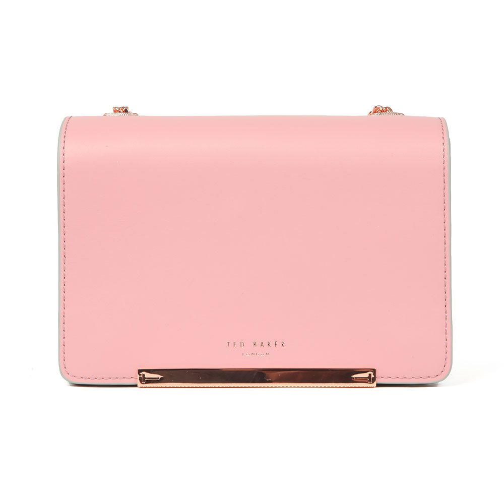 Ted Baker Earie Rainbow Gusset Cross Body Bag In 'dusky Pink' Has Been Crafted From A Luxurious Bovine Leather And Features A Contrasting Pastel Body To The Sides For A Fun, Playful Design. A Rose Gold Metal Bar And Simple Ted Baker London Branding To The Front Add Elegant Detail And A Detachable Chain Strap In Rose Gold Metal Finishes The Look Beautifully. Approx: H: 13cm X W: 20.5cm X D: 8.5cm
