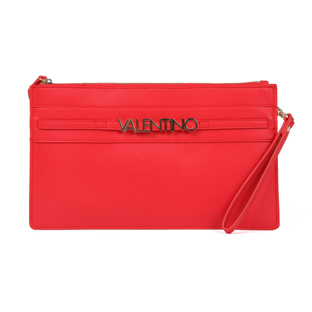 Valentino By Mario Sea Clutch Bag In 'red' Features Raised Gold Valentino Branding To The Front, A Zip Closure And A Detachable Shoulder Strap To Form Multiple Looks. Approx: H: 17.5cm X W: 31cm