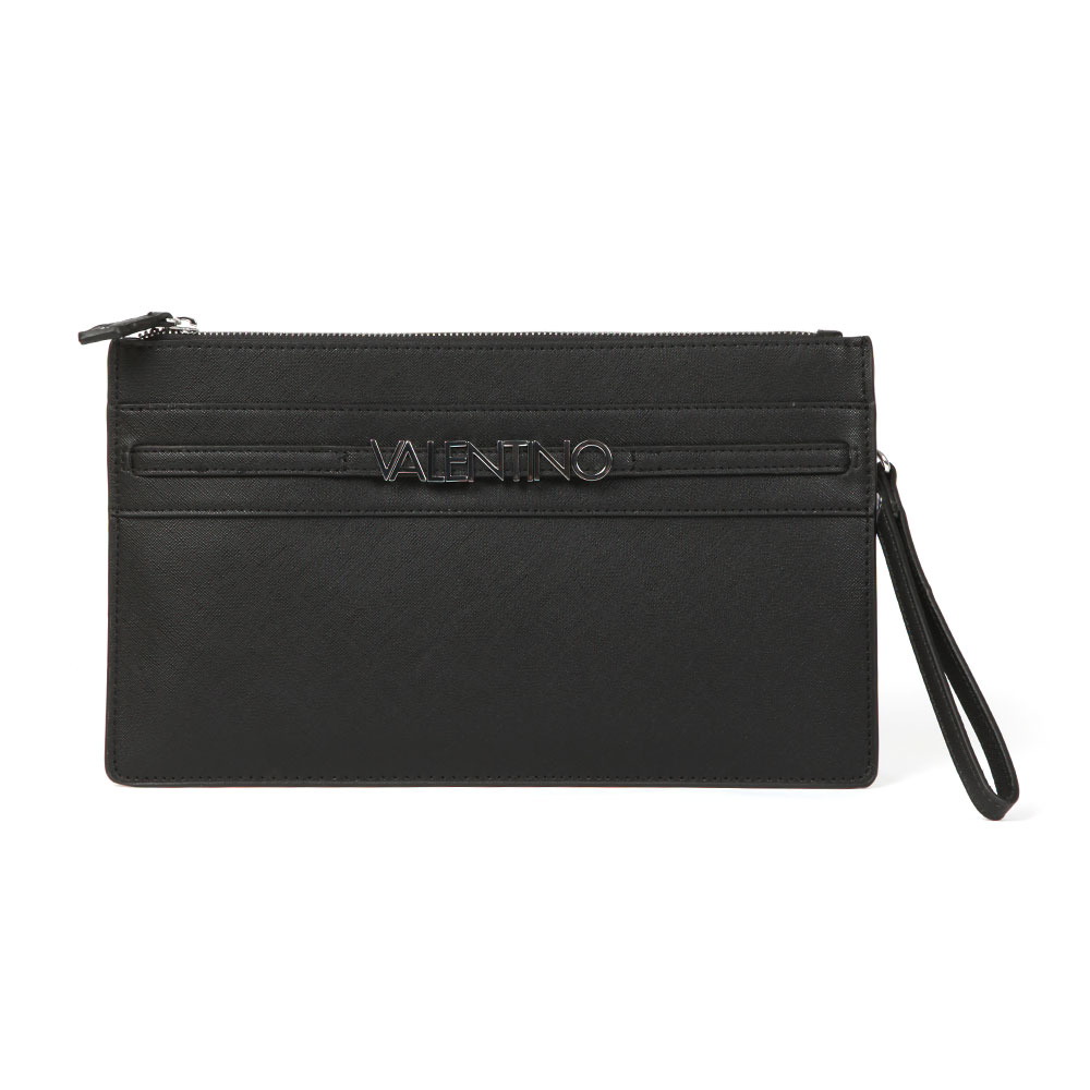Valentino by Mario Sea Clutch Bag in 'black' features raised silver Valentino branding to the front, a zip closure and a detachable shoulder strap to form multiple looks. Approx: H: 17.5cm x W: 31cm