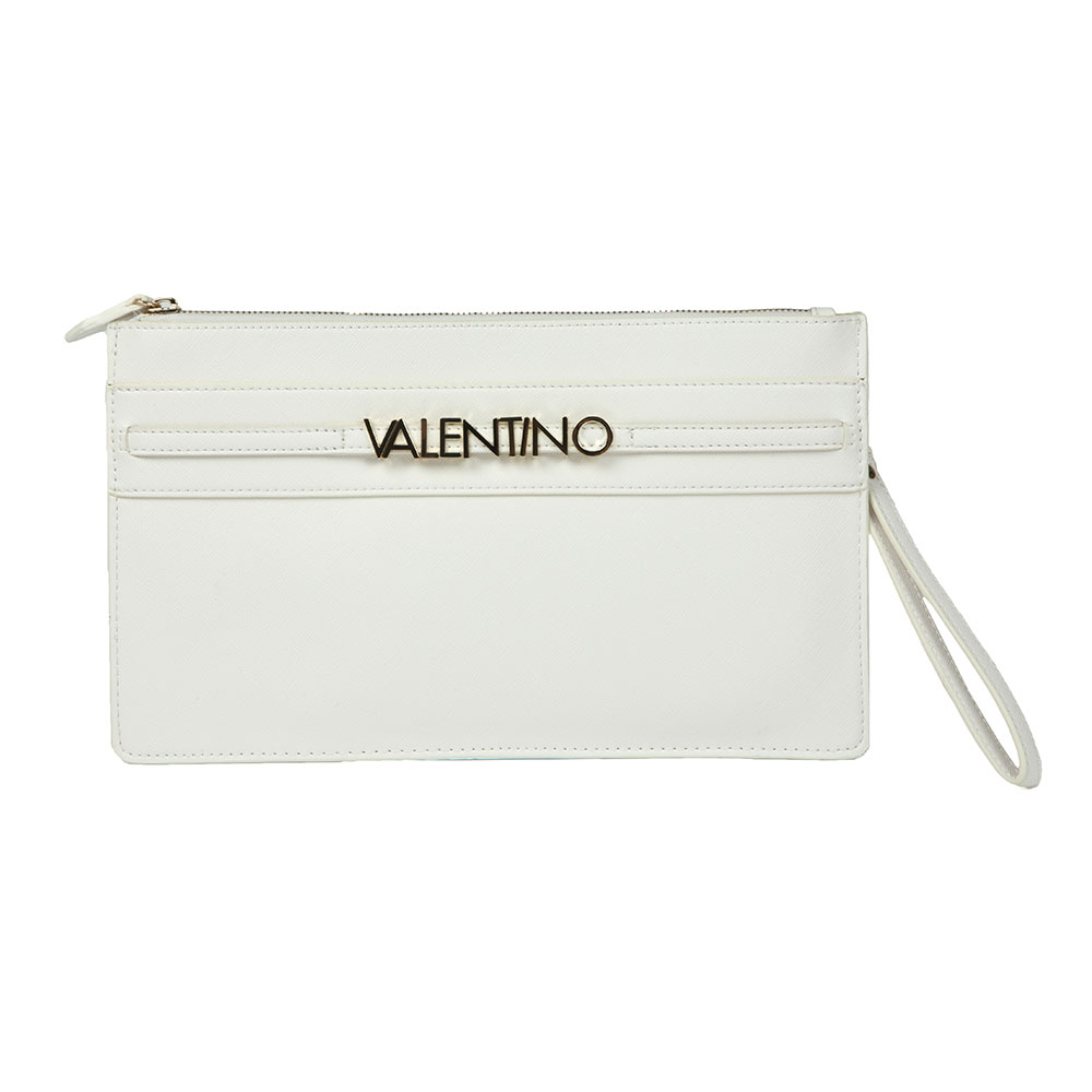 Valentino by Mario Sea Clutch Bag in 'white features raised gold Valentino branding to the front, a zip closure and a detachable shoulder strap to form multiple looks. Approx: H: 17.5cm x W: 31cm