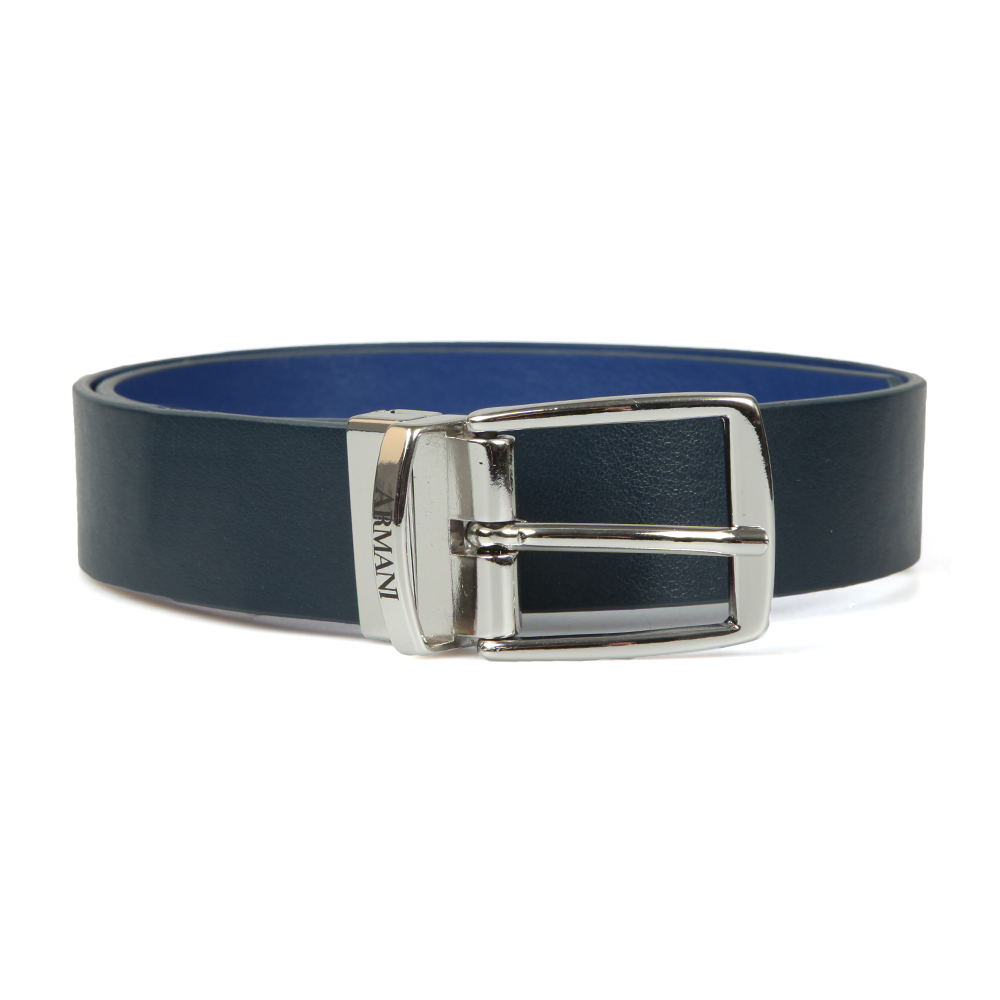 Armani Junior Reversible Leather Belt in Navy/Blue is a boy's sleek, smart belt that offers the choice of a smooth design or a snakeskin texture for an alternative look. A silver metal buckle is Armani branded and the belt offers five buckle holes. Size Guide: S = 7-9 Years M = 10-12 Years L = 12-14 Years