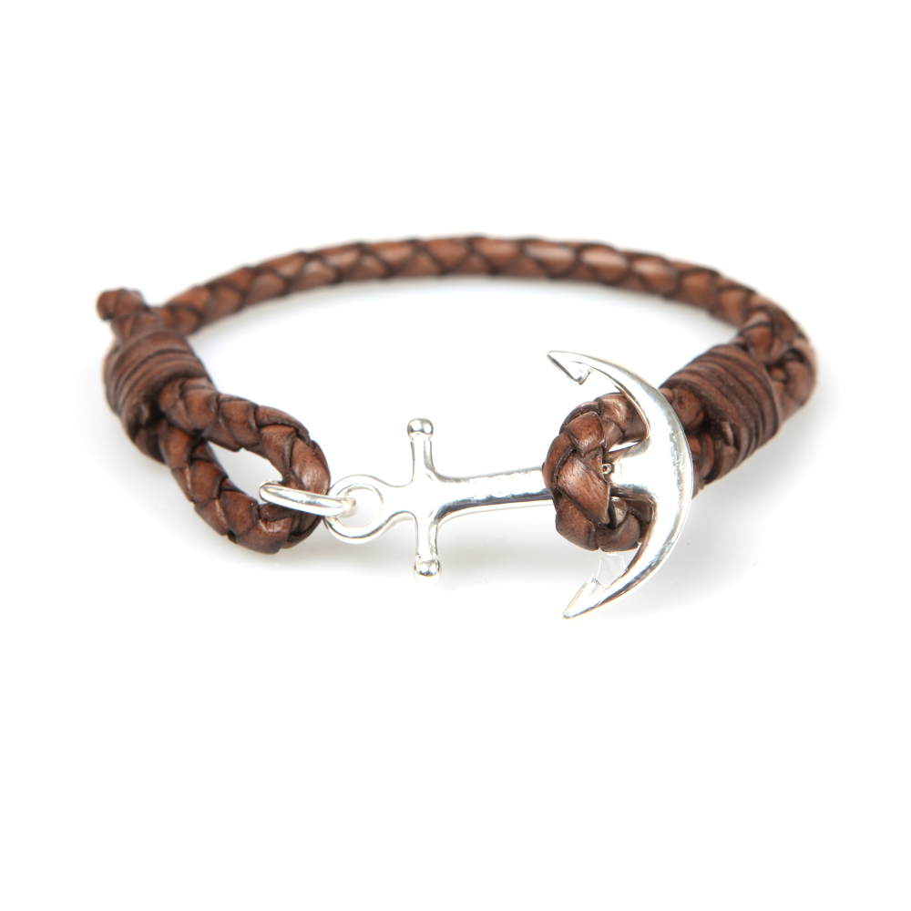 Tom Hope Single Leather Collection Bracelet in Havana Brown.