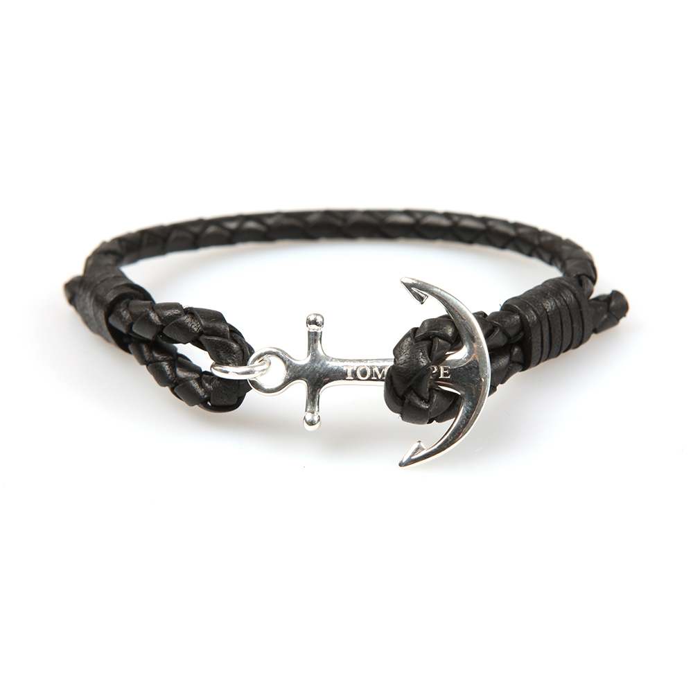 Tom Hope Single Leather Collection Bracelet in Jet Black.