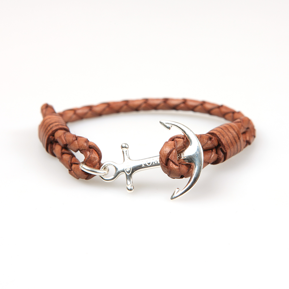 Tom Hope Single Leather Collection Bracelet in Cognac.