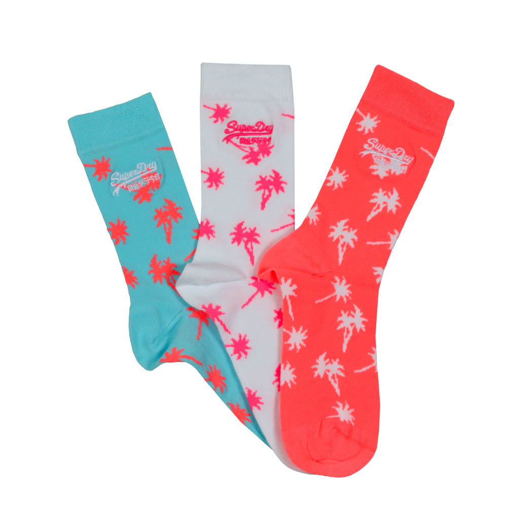 Superdry Palms Sock Triple Pack Socks display a palm tree design in an option of neon colours.