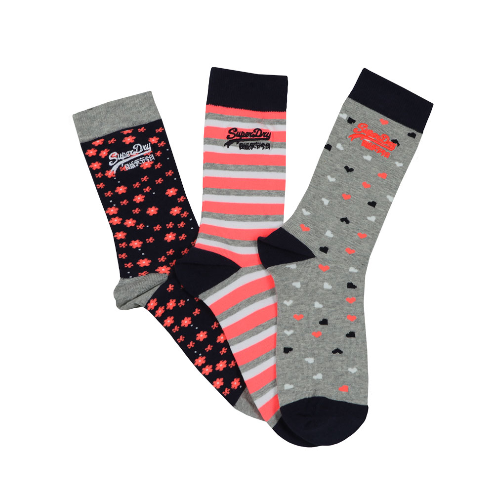 Superdry Floral Heart Triple Pack Sock in 'navy/grey' features socks with a heart, stripe & floral design.