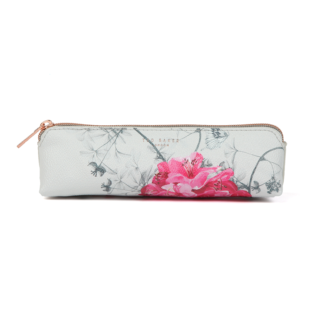 Ted Baker Gianna Babylon Pencil Case in 'grey' can also be used as a makeup brush case and displays an all-over floral design. A textured finish adds a classic, timeless look and a rose gold zip closure adds on-trend detail. Approx: H: 6cm x W: 21cm x D: 5.5cm