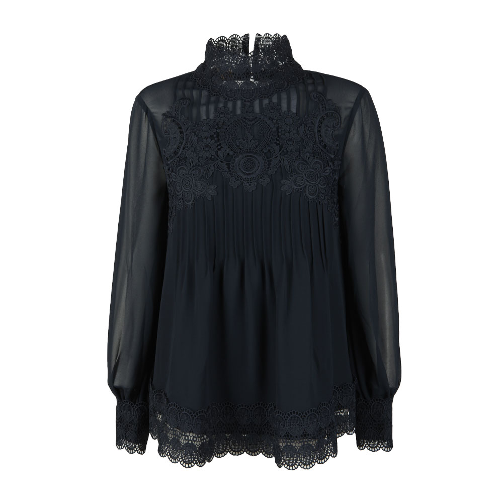 Cailley Lace Pintuck High Neck Long Sleeve Top