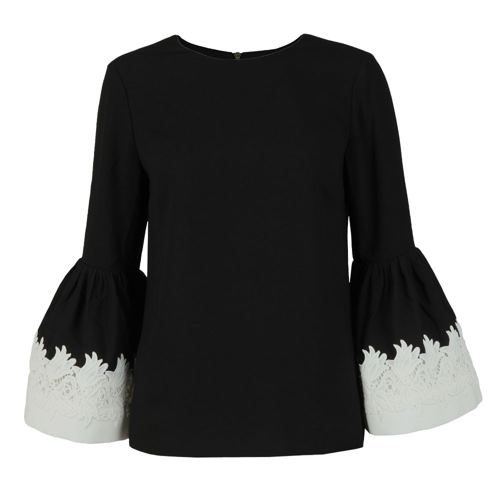 Amonie Fluted Long Sleeve Lace Trim Top
