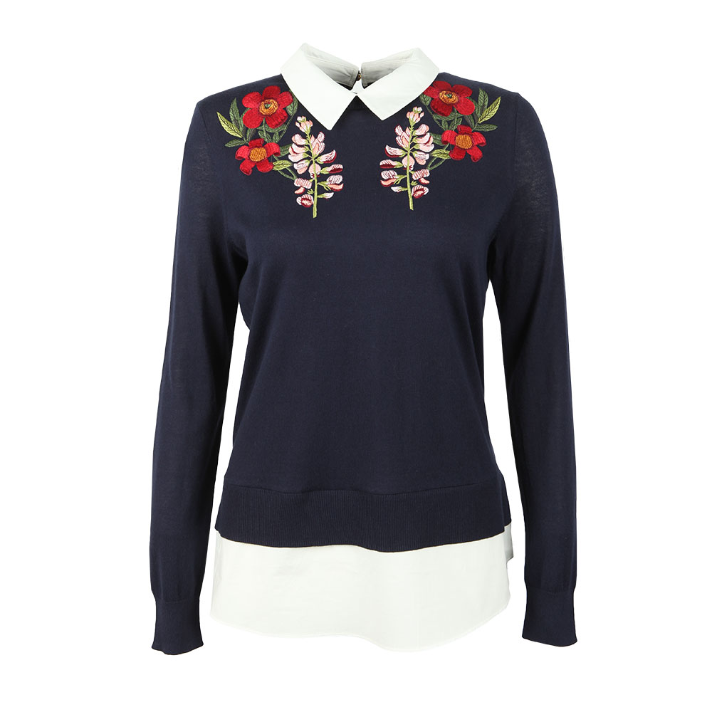 39df4fb803d20 Ted Baker Womens Blue Toriey Embroidered Mockable Knit