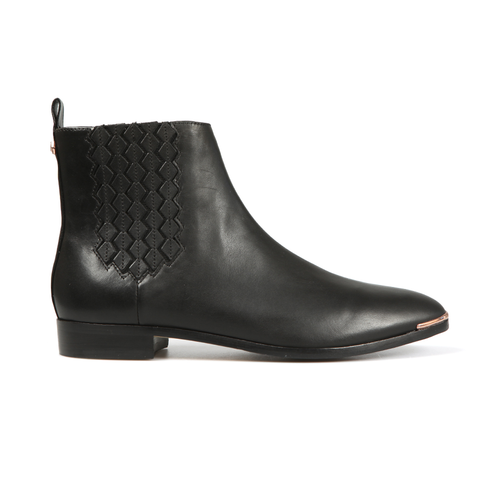 Liveca Elastic Detail Leather Ankle Boot