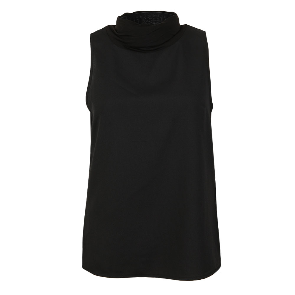 Crepe Mock Neck Cross Top