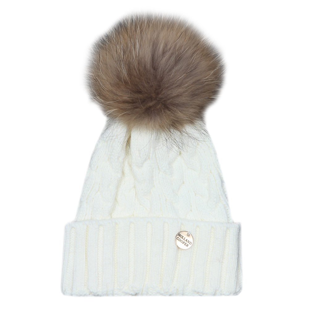 Cable Knit Fur Bobble Hat