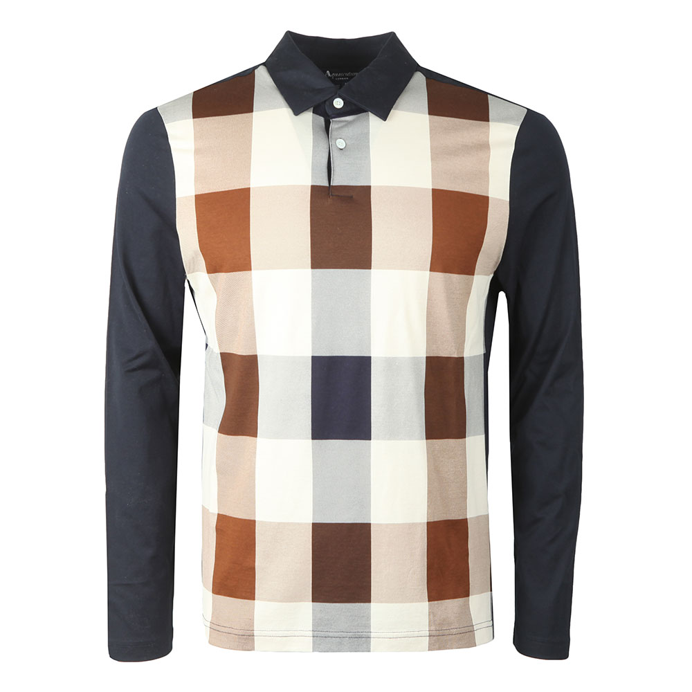 Abner Large Club Check Long Sleeve Polo Shirt