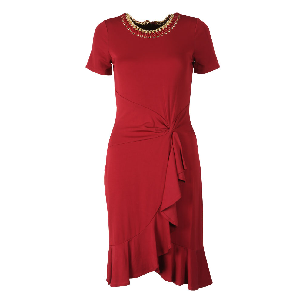Chain Trimmed Stretch-Viscose Twist Dress