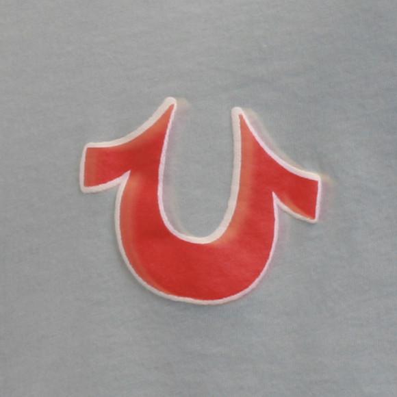true religion puff logo sky blue tshirt oxygen clothing
