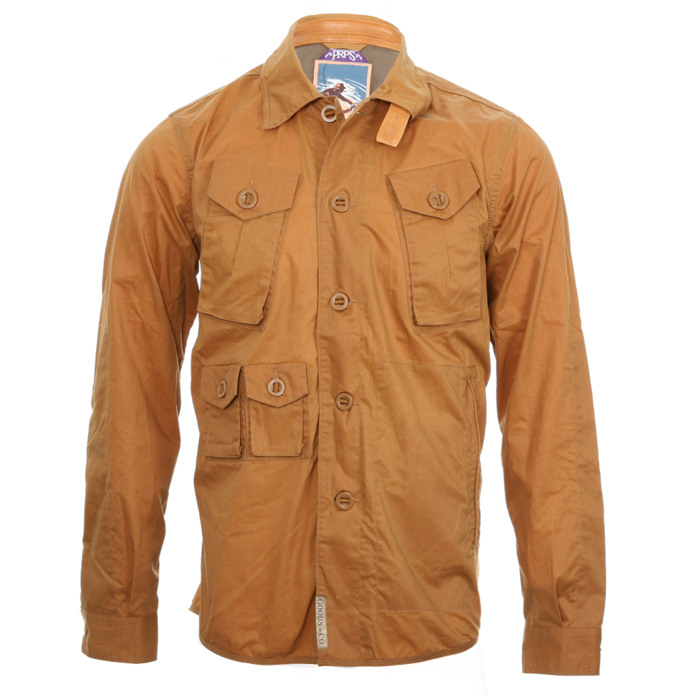 prps tan multi pocket over shirt oxygen clothing