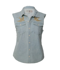 Firetrap East Denim Waist Coat - Bleach Wash