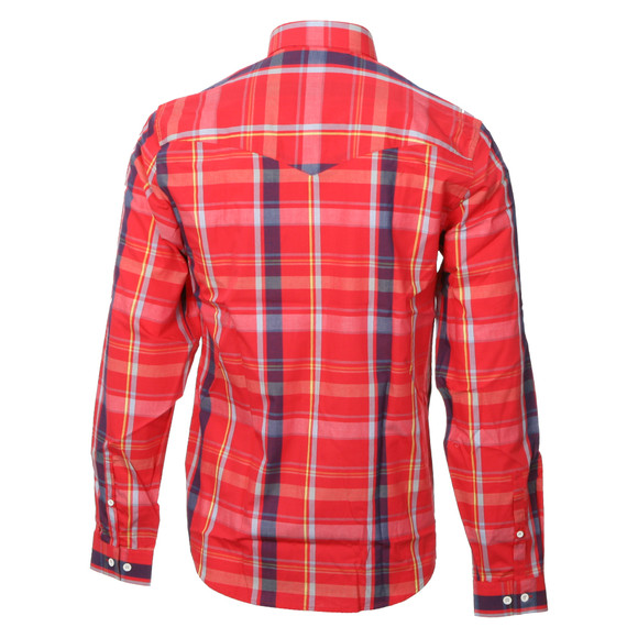 Luke Mens Red Luke Sport Red Block Roll Up Sleeve Military Shirt main image