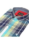 Luke Mens Blue Luke Bolt Rig Blue Cement SS Check Shirt