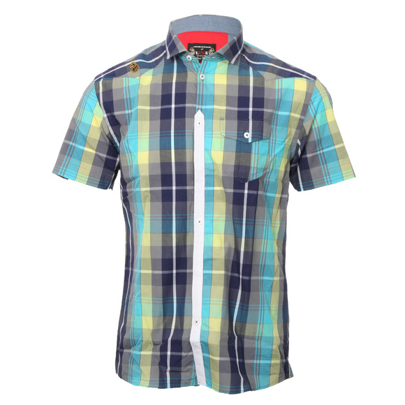 Luke Mens Blue Luke Bolt Rig Blue Cement SS Check Shirt main image