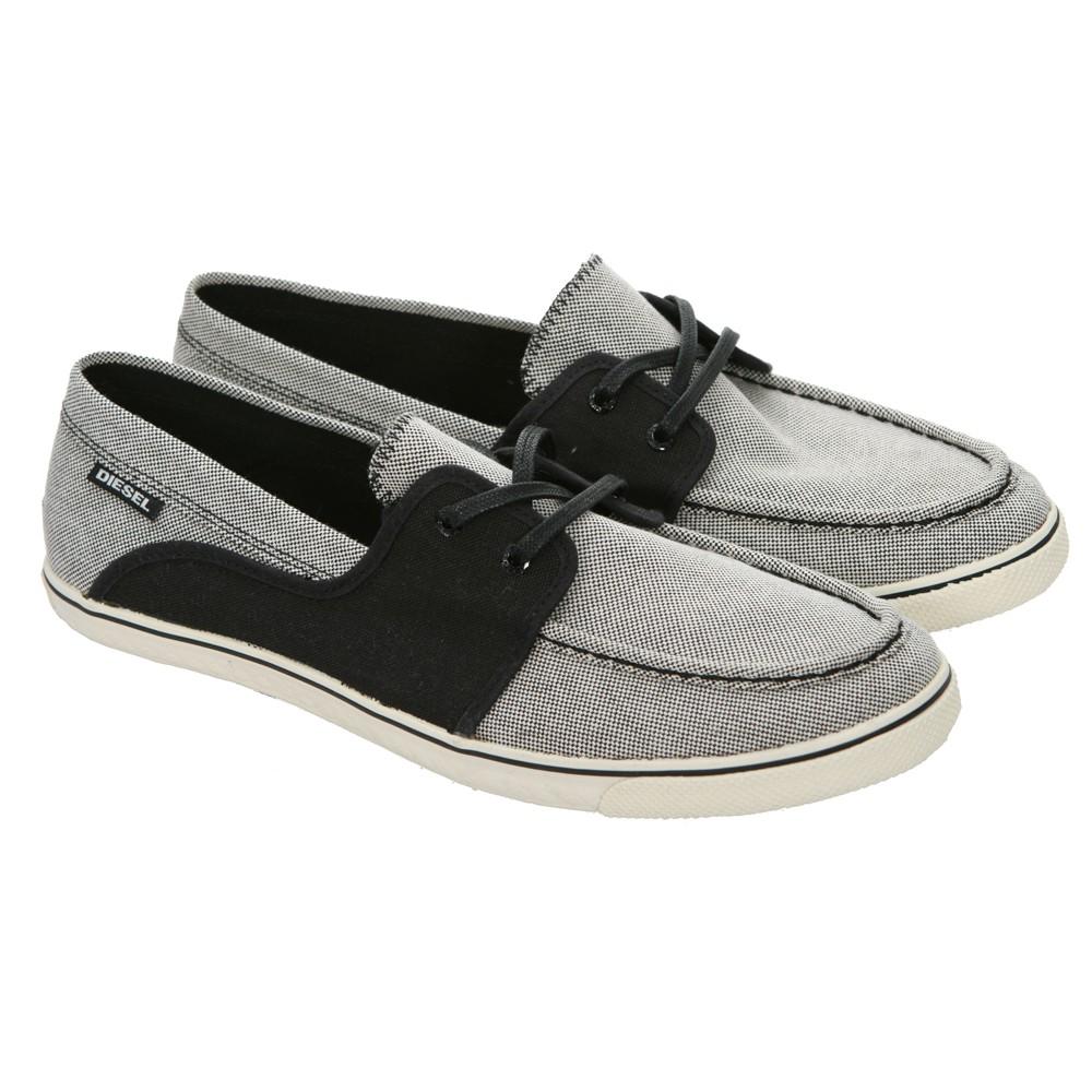 diesel malory white black canvas boat shoe masdings