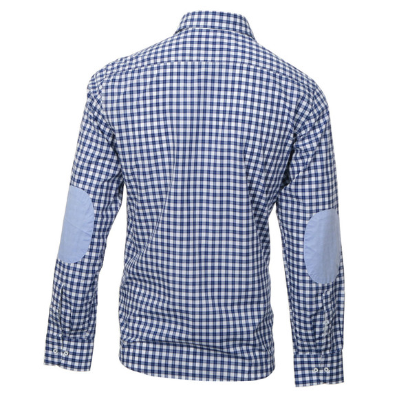 Hackett White Blue Check Shirt With Elbow Patches Oxygen