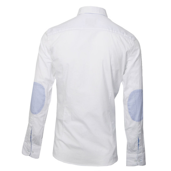 Hackett White Pinpoint Shirt With Elbow Patch Oxygen