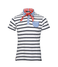 Two Stoned Cream Marvin Contrast Collar Stripe Polo
