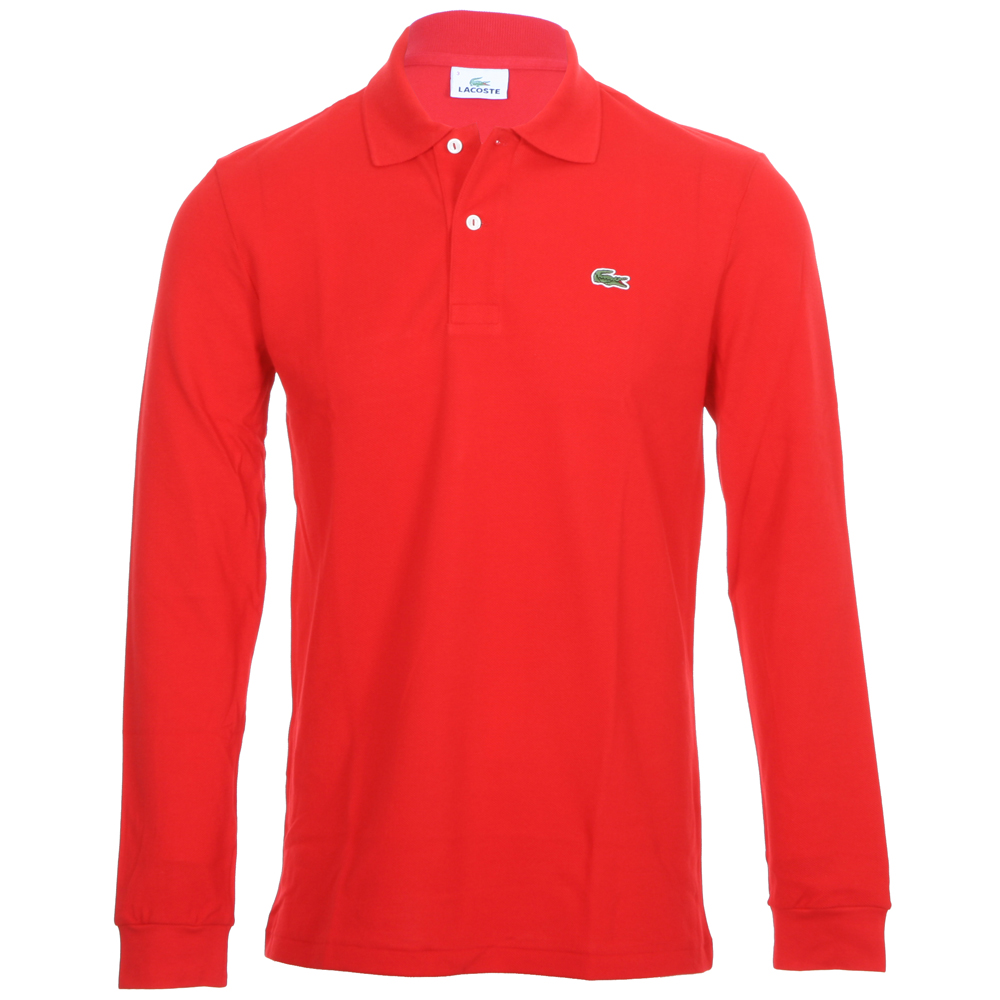 Lacoste L1312 Red Long Sleeve Polo