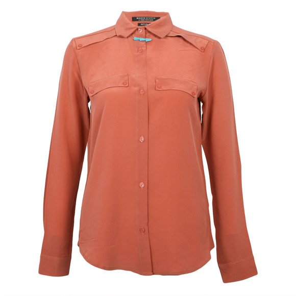 Maison Scotch Womens Pink Clean Look Silk Shirt With Necklace main image