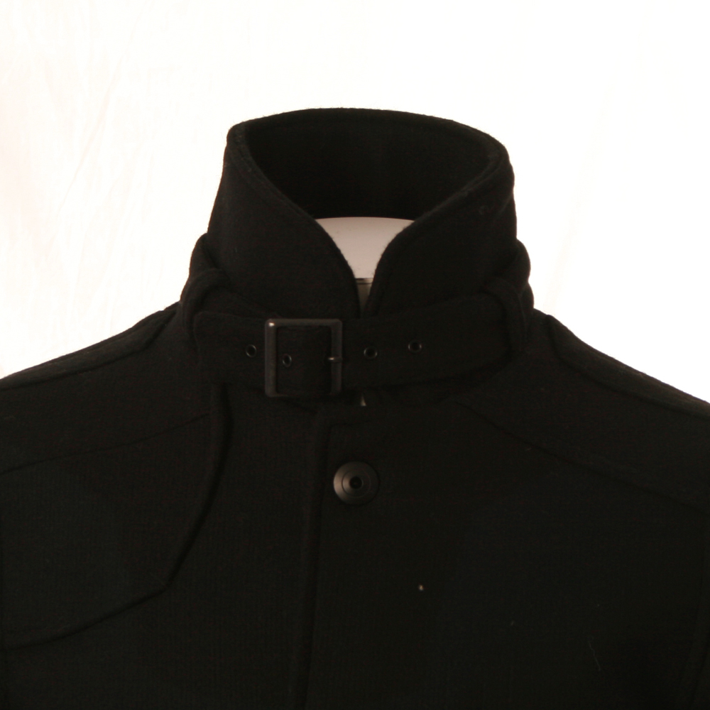 star mens black g star decoy black wool garber trench coat. Black Bedroom Furniture Sets. Home Design Ideas