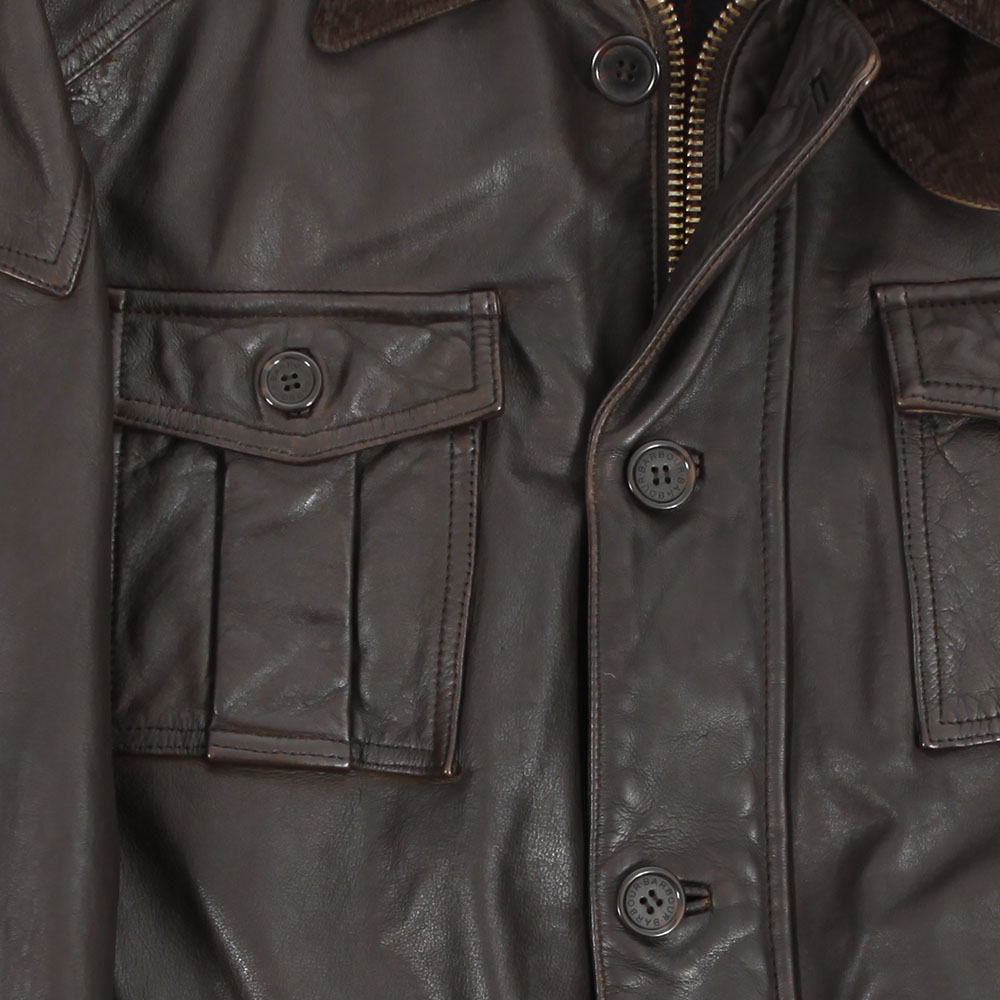 Barbour Load Brown Leather Jacket main image
