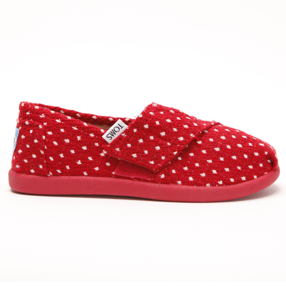 Toms Girls Classic Red Dot Slip On main image