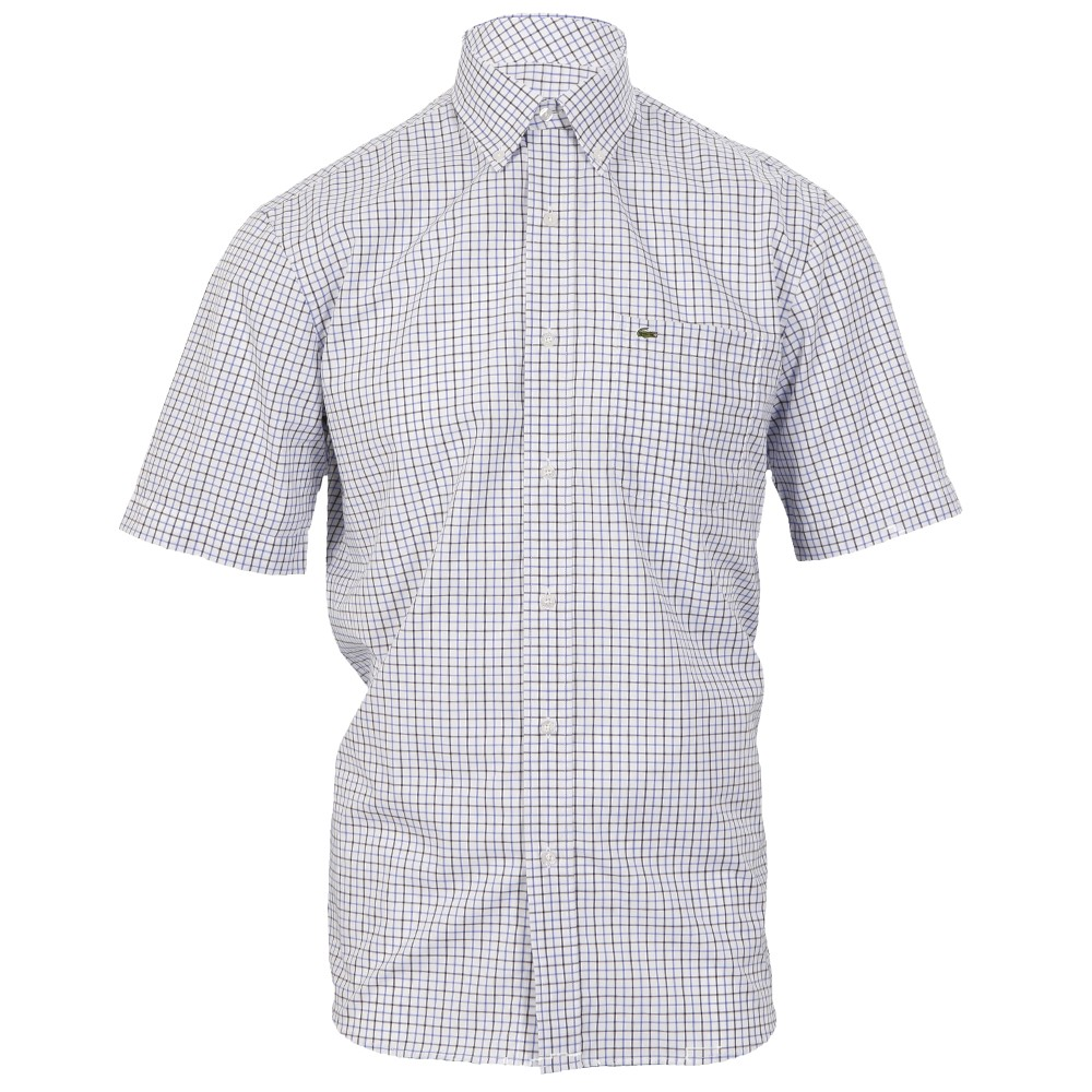 Lacoste ch5869 short sleeve blanc capitaine check shirt for Short sleeve lacoste shirt